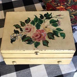Shabby Chic floral flatware storage chest